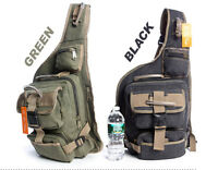 Men's Casual Military Canvas Cross body Sling Messenger School Travel Hiking Bag