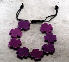 Purple Dyed Howlite Cross Symbol Bracelet Adjustable Jewelry