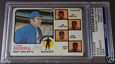 YOGI BERRA Signed 1973 Topps #257 New York Mets Auto PSA/DNA Slabbed Autograph