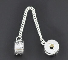 Silver Plated Dolphin Safety Chain Stopper Clip Bead Fit European Charm Bracelet