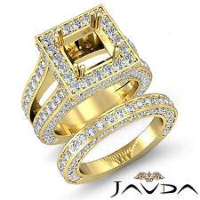 Diamond Engagement Ring Princess Semi Mount Bridal Set 18k Gold Yellow 4.75 ct.
