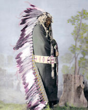 """IRON SHELL NATIVE AMERICAN INDIAN BRULE 1872 8X10"""" HAND COLOR TINTED PHOTOGRAPH"""