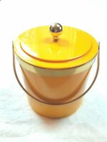 Vintage Yellow Mid Century Plastic Ice Bucket Made In USA