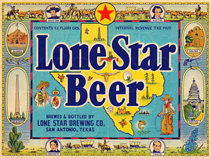 "24"" X 18"" Reproduced Lone Star Beer San Antonio TX on Canvas"