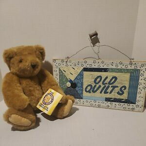 """Vermont Teddy Bear 16"""" Brown Plush Stuffed + """"Old Quilts"""" sign"""