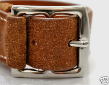 AUTHENTIC HERMES ETRIVIERE WIDE LEATHER BROWN BRACELET PALLADIUM