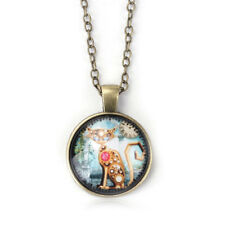 """Steampunk Cat Pendant Necklace Antiqued Bronze 19"""" Cable Chain Animal Jewelry"""