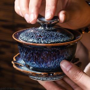 JianZhan gaiwan porcelain blue glaze kiln change tureen with lid saucer bowl new