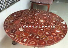 "Round 52"" Marble Dining Table Top Red Luxury Gold Coating Agate Home Decor Art"