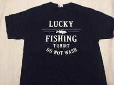 Men's Fruit Of The Loom HD Cotton LUCKY FISHING blue T-shirt - Medium, New