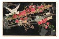 1911 Birthday Greetings Postcard Dove Pink Roses Airplane Biplane Gold Trim