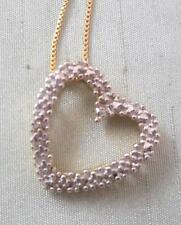 VERMEIL STERLING HEART PENDANT W/ MICRO BEADS & DIAMOND ACCENT  & CHAIN NECKLACE