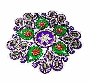 Kriwin Acrylic Rangoli Decorative (10-to 11 inches Multicolor) Reusable