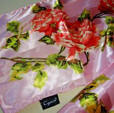 "Scarf Cejon Silky feel Polyester 61"" x 10"" Roses Pinks, Greens Yellow Spring"