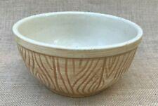 Vintage Pottery Yellow Ware Kitchen Mixing Bowl Tan & Brown Country Farmhouse