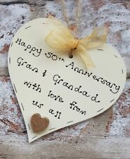 Handmade golden 50th wedding anniversary gift for grandparents wooden heart