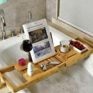 Bamboo Bath Tray Caddy Bathtub Organizer Wine Tablet Holder Adjustable Rack
