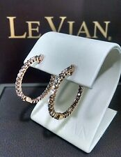 LeVian 14K Rose Gold Chocolate Diamond In & Out Round Cut Hoop Earrings NEW