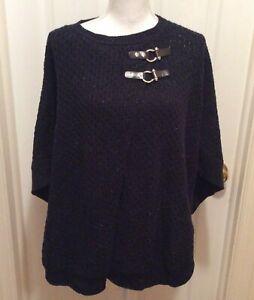 Talbots Cape S Dark Blue-Black Flecked Crochet Knit Buckle Details