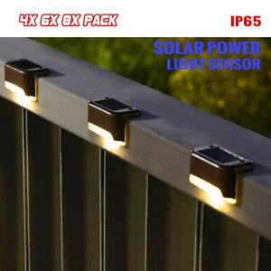4/6/8 PCS LED Solar Fence Light Outdoor Garden Deck Step Path Courtyard Lamp
