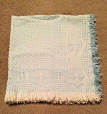 "Vintage Blue & White Baby Blanket Soft Pucker Weave w/ Fringed Edge 36"" X 36"""