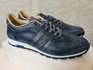 NAVY LEATHER SMART TRAINERS SPANISH MADE SIZE UK 10.5 NEW