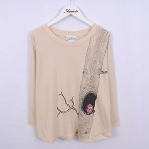 Owl Graphic Print 3/4 Sleeve Sweatshirt Sweater Womens Size L   Vintage 90s