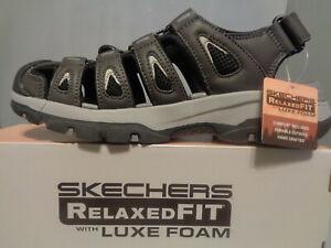 Men's Skechers Outseen Fisherman Sandals NIB NEW Gray/Black Sizes So Comfortable