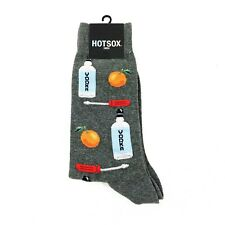 Hot Sox Men's Socks Gray Vodka Orange Screwdriver Drinks Fun NEW Size 10-13