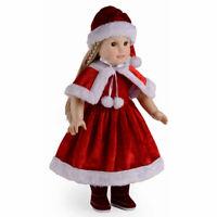 Christmas Dolls Clothes Dress Hat Shawl Set for 18'' Baby Girl Doll Kids BIN Gif