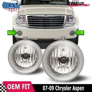 For Chrysler Aspen 07-09 Factory Bumper Replacement Fit Fog Lights Clear Lens