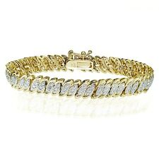 18K Gold Tone 0.10ct Natural Diamond Marquise S Tennis Bracelet in Brass