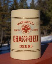 Antique GOLDEN GRAIN BELT BEER mug MONTANA Cowboy favorite w/ figurine handle