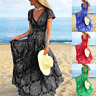 Womens Short Sleeve Boho Holiday Beach Party Cocktail Wrap Maxi Long Sun Dress