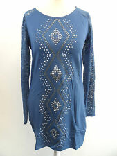 Micro Mini Dress /  Long Lace Sleeve Party Top Blue L / XL box73 72 C
