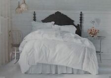 Anthropologie Bedskirt GEORGINA White TWIN Gathered Ruched Jersey Cotton New!!