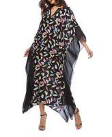 Plus Size Long Maxi Dress Black Feather Print  Kaftan Size 14-16-18-20