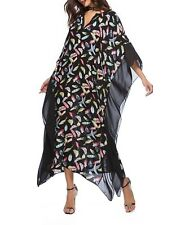 Plus Size Long Maxi Dress Black Feather Print  Kaftan Size 14-16-18-20