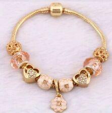 Love heart Gold Charm  luxury gold Bracelet For Womens Ladies Bead