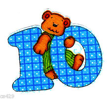 """2"""" TEDDY BEAR NUMBERS  NUMBER #10 BLUE 10th BIRTHDAY FABRIC APPLIQUE IRON ON"""