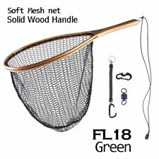 Fly Fishing Landing Net Nylon Trout Catch And Release Net With Curve Wood Handle