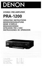Denon PRA-1200 Amplifier Owners Manual
