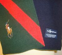 RALPH LAUREN VNTG 100% LAMBS WOOL SCARF GREEN & BLUE REVERSIBLE W/LOGO & ORANGE