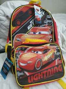 cars lightning mcqueen backpack with lunchbox new watch me get away