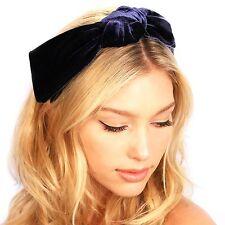 Velvet Bow Headband Headpiece Preppy Headpiece Navy Ladies Hat