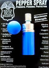 Police Magnum .75oz mace Blue Round Lipstick Pepper Spray Self Defense Security