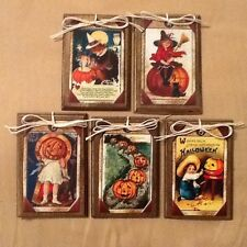 5 HANDCRAFTED Wooden Halloween Ornaments/Hang Tags/Gift Tags/Bowl Fillers SETt1