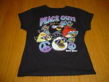 NEW ANGRY BIRDS PEACE OUT BLACK COTTON SHIRT TOP GIRLS 10  ROVIO