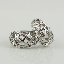 18k white Gold plated filigree huggie with Swarovski crystals earrings