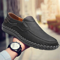Men's Casual Leather Loafers Shoes Fashion Breathable Antiskid Slip on Moccasins